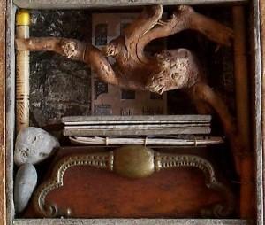 Curio cabinet interior detail