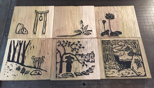 Japanese Garden wood blocks