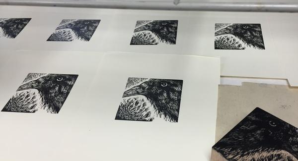 crow block and prints