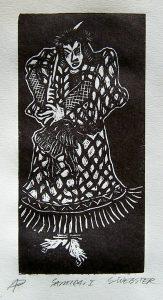 samurai wood engraving