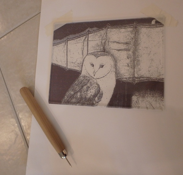 Dry point etching of owl and boat with tool