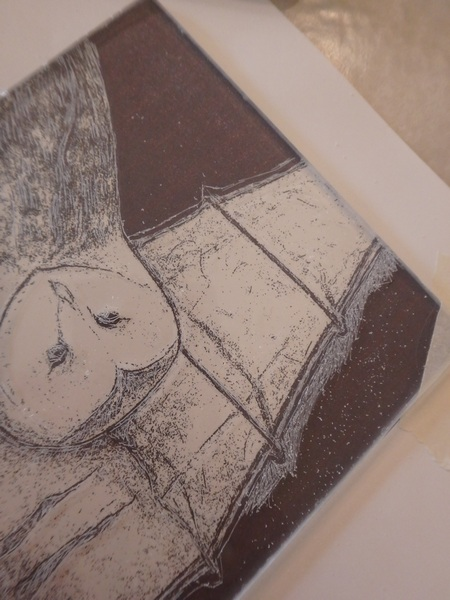 Dry point etching of owl detail